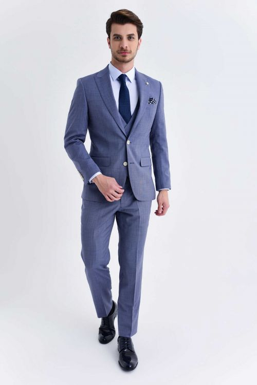 Hatem Saykı - Slim Fit Mavi Takım Elbise