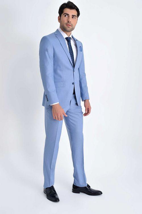 Hatemoğlu - Açık Mavi Slim Fit Takım Elbise