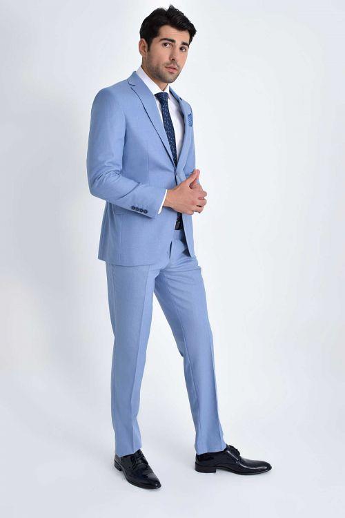 Açık Mavi Slim Fit Takım Elbise