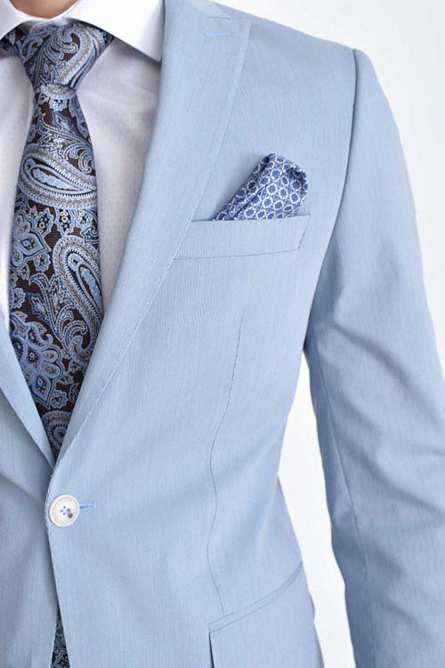Slim Fit Mavi Takım Elbise