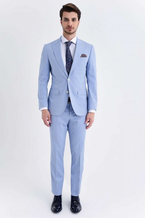 Hatem Saykı - Açık Mavi Slim Fit Takım Elbise (1)