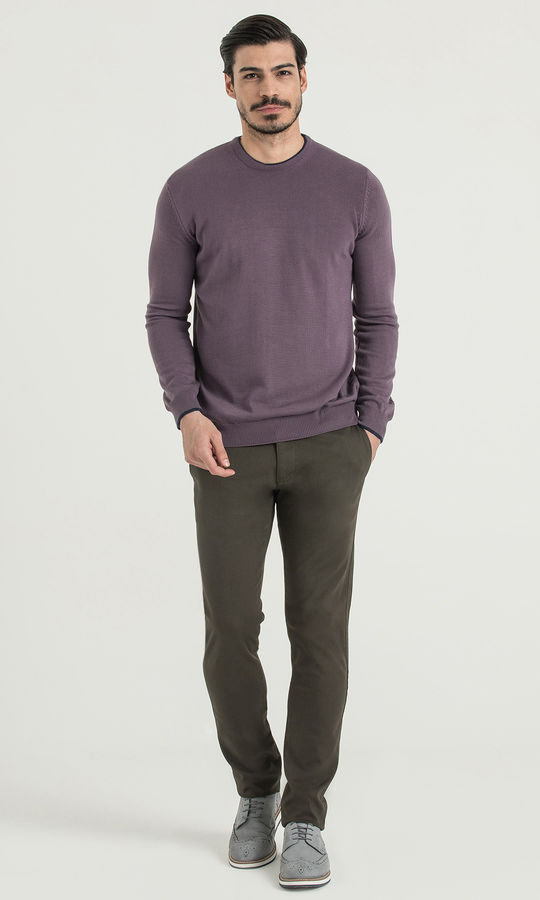 Hatem Saykı - Slim Fit Olive Petek Pantolon (1)