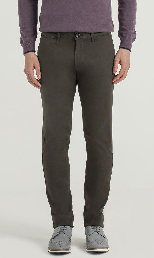Hatem Saykı - Slim Fit Olive Petek Pantolon