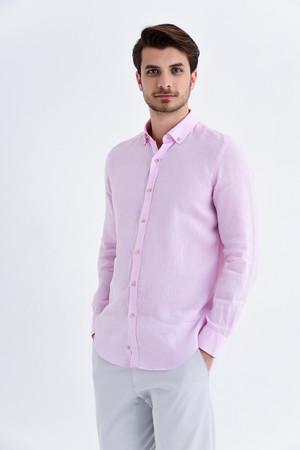 Hatem Saykı - Slim Fit Pembe Gömlek