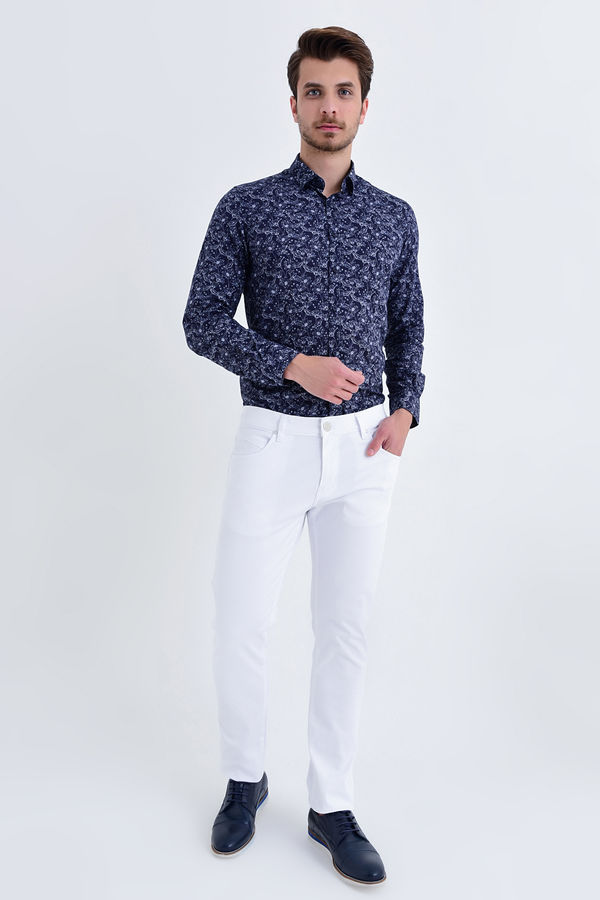 Hatem Saykı - Slim Fit Petek Beyaz Pantolon (1)