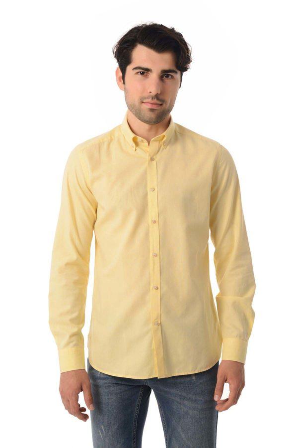 HTML - Slim Fit Sarı Gömlek