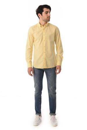 HTML - Slim Fit Sarı Gömlek (1)