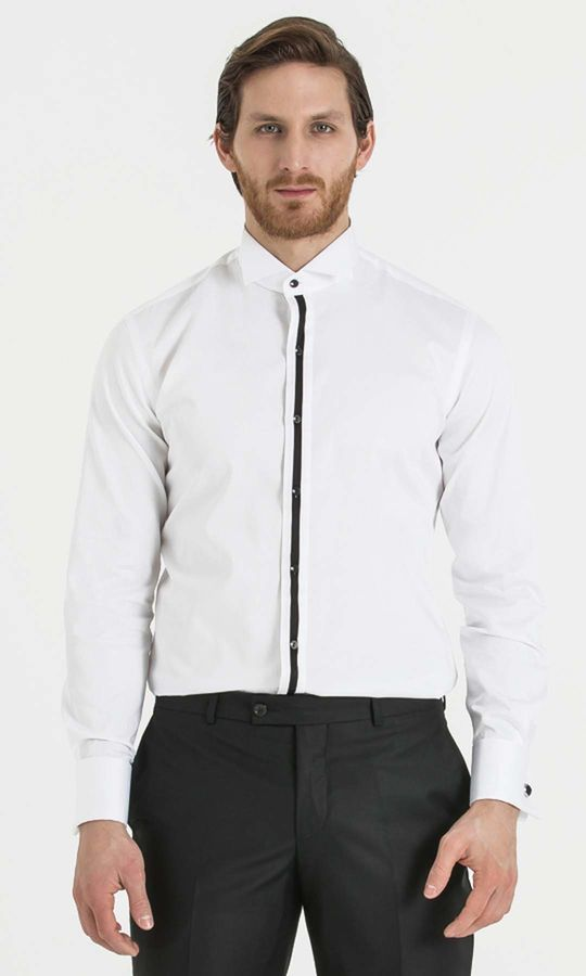 Slim Fit Şeritli Beyaz Gömlek