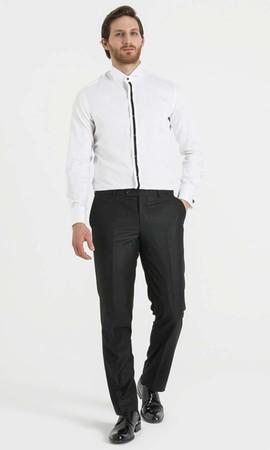 Slim Fit Şeritli Beyaz Gömlek - Thumbnail