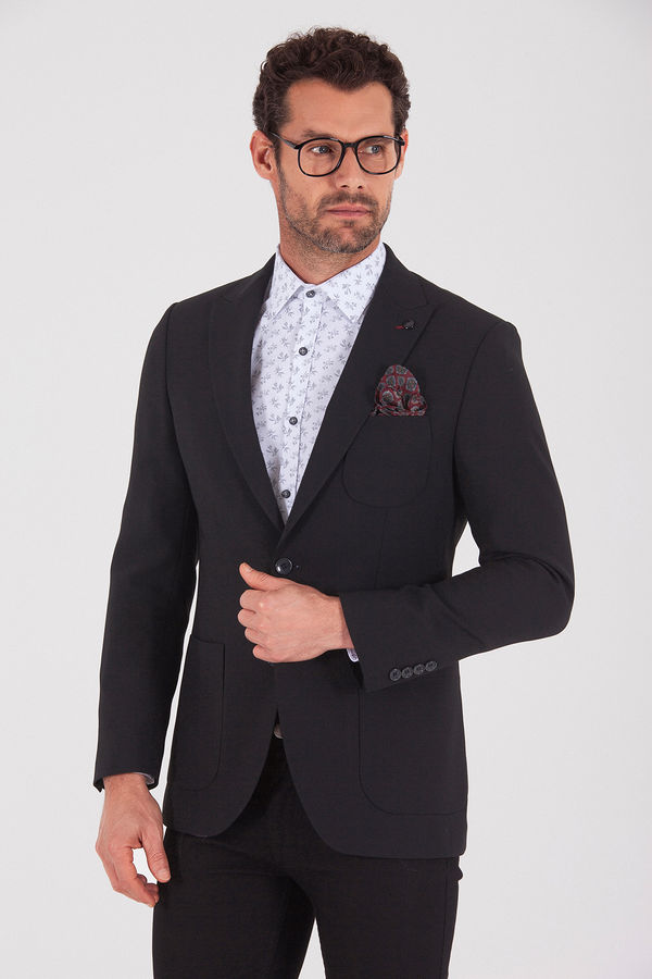 Hatem Saykı - Siyah Slim Fit Klasik Blazer Ceket