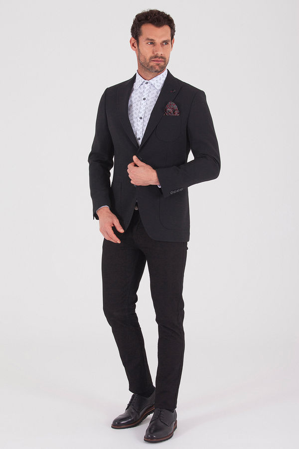 Hatem Saykı - Siyah Slim Fit Klasik Blazer Ceket (1)