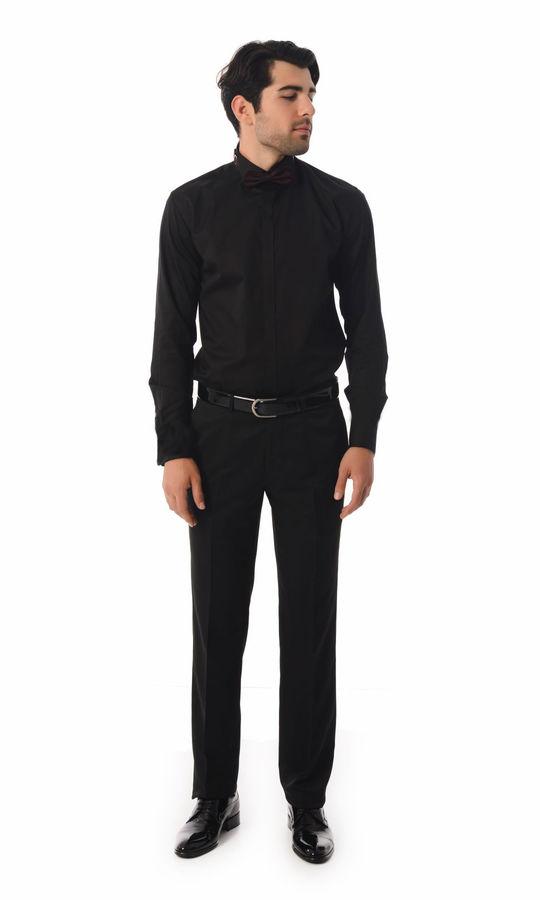 HTML - Slim Fit Siyah Gömlek (1)
