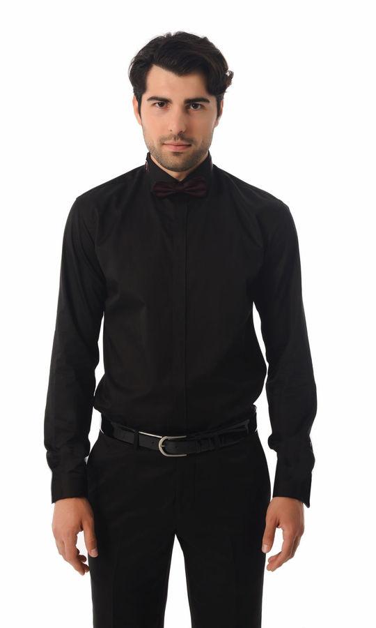 HTML - Slim Fit Siyah Gömlek
