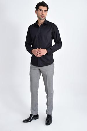 Slim Fit Siyah Gömlek - Thumbnail