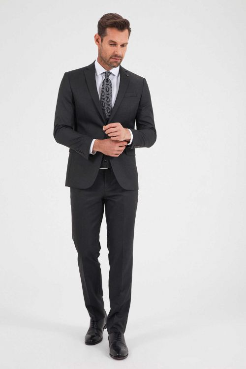 Hatemoğlu - Siyah Slim Fit Yelekli Takım Elbise