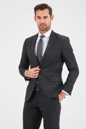 Slim Fit Siyah Takım Elbise - Thumbnail