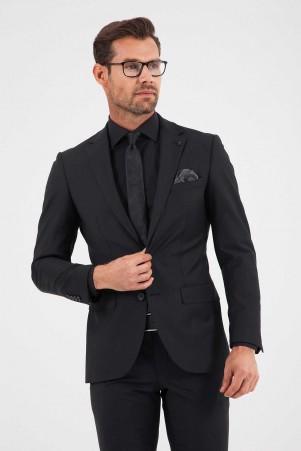 Siyah Slim Fit Takım Elbise - Thumbnail