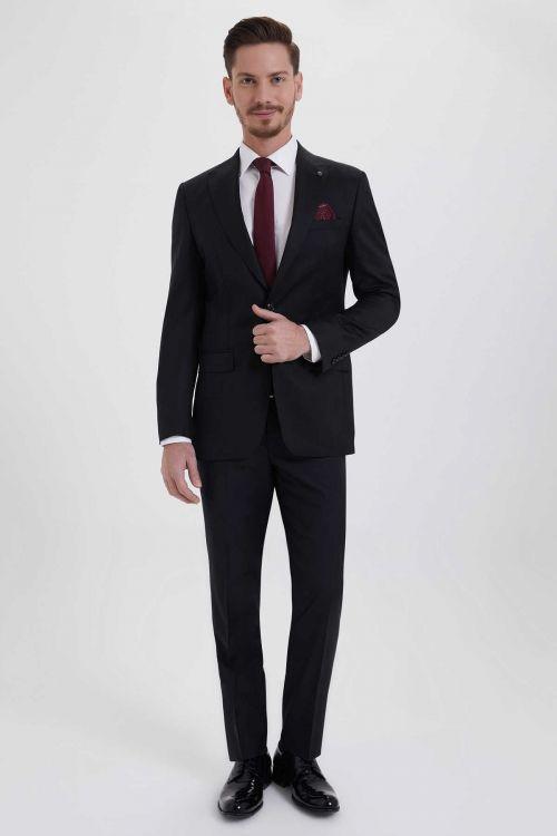 Hatem Saykı - Slim Fit Siyah Takım Elbise