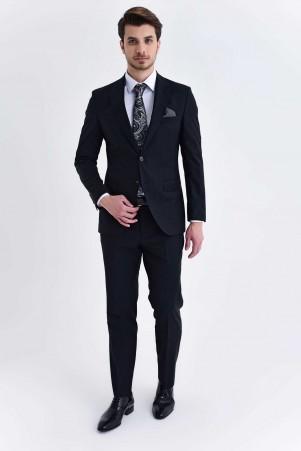 Hatem Saykı - Siyah Slim Fit Takım Elbise