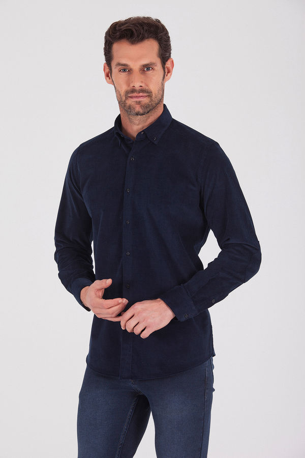 Hatem Saykı - Slim Fit Lacivert Gömlek