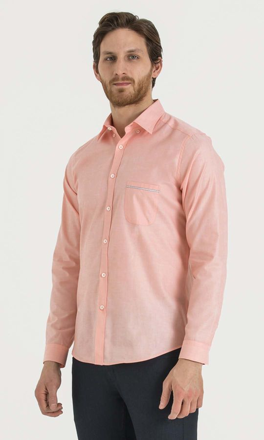Somon Desenli Slim Fit Gömlek