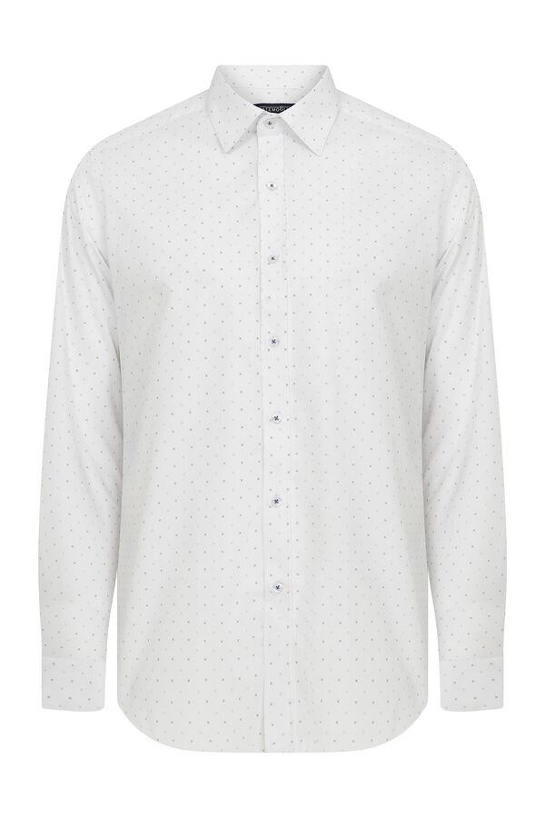 Hatemoğlu - Slim Fit Desenli Beyaz Spor Gömlek