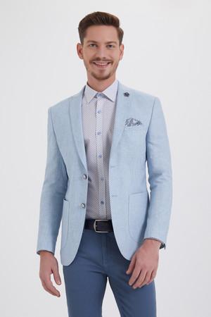 HTML - Açık Mavi Slim Fit Desenli Ceket