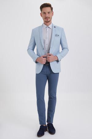 HTML - Açık Mavi Slim Fit Desenli Ceket (1)