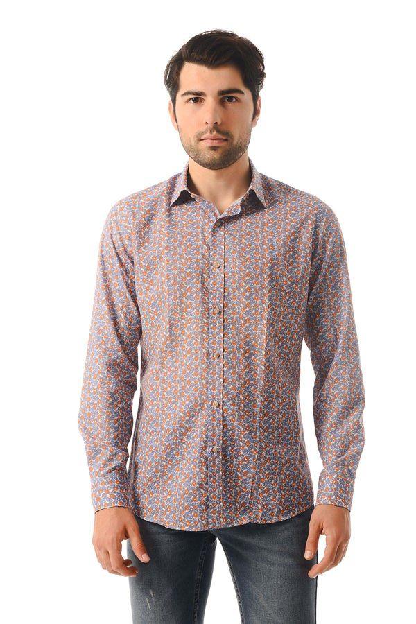 Hatem Saykı - Turuncu Baskılı Slim Fit Gömlek