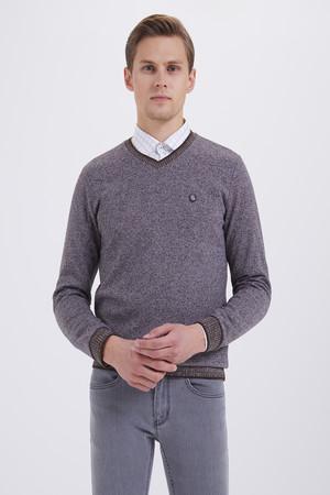 HTML - V Yaka Kahverengi Sweatshirt