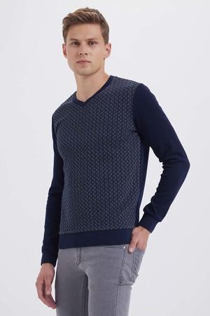 HTML - V Yaka Lacivert Sweatshirt