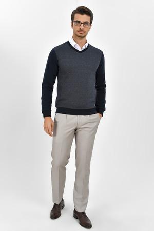 HTML - Lacivert V Yaka Sweatshirt (1)