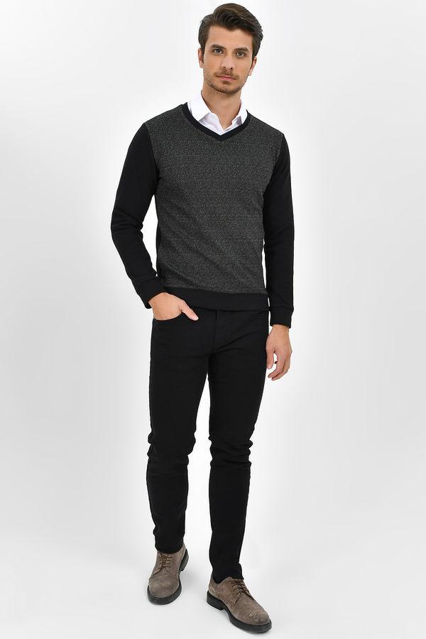 HTML - V Yaka Slim Fit Siyah Sweatshirt (1)