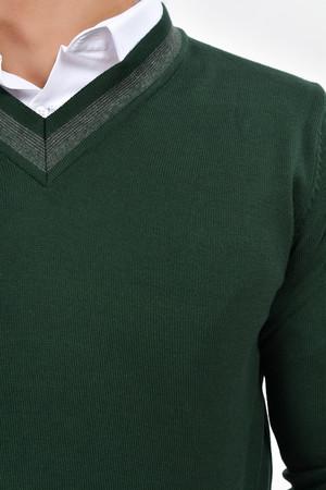 V Yaka Yeşil Triko Kazak - Thumbnail