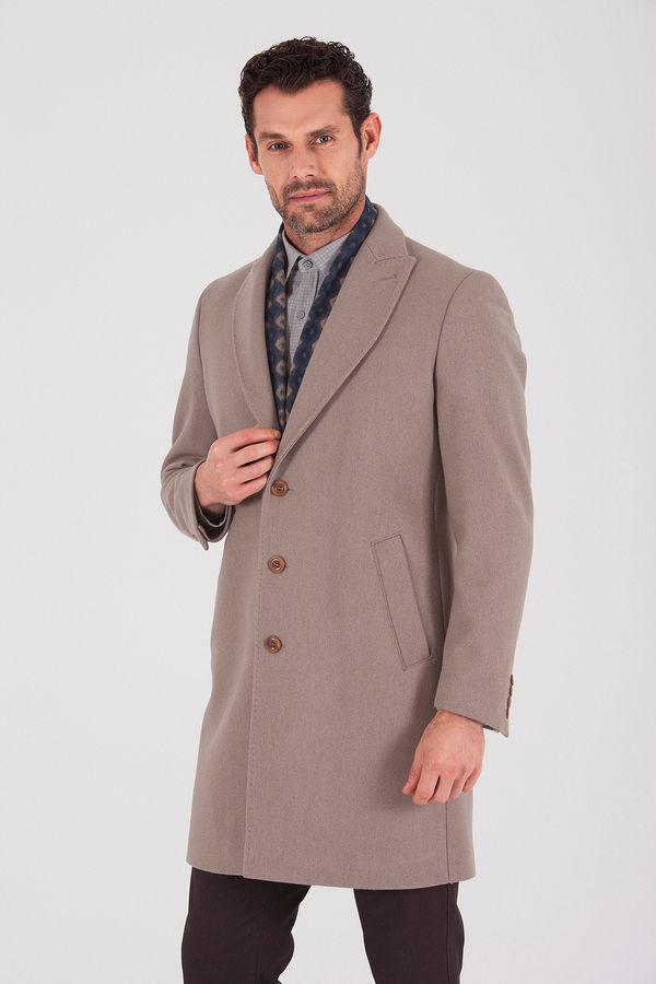 Hatem Saykı - Vizon Ceket Yaka Yünlü Palto