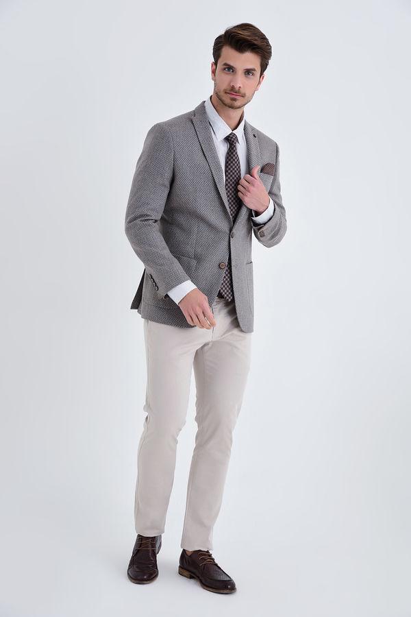 HATEMOĞLU - Vizon D Desenli Slim Fit Ceket (1)