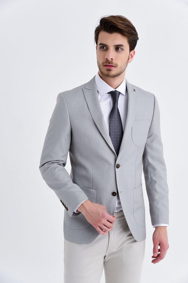 HATEMOĞLU - Vizon D Desenli Slim Fit Ceket