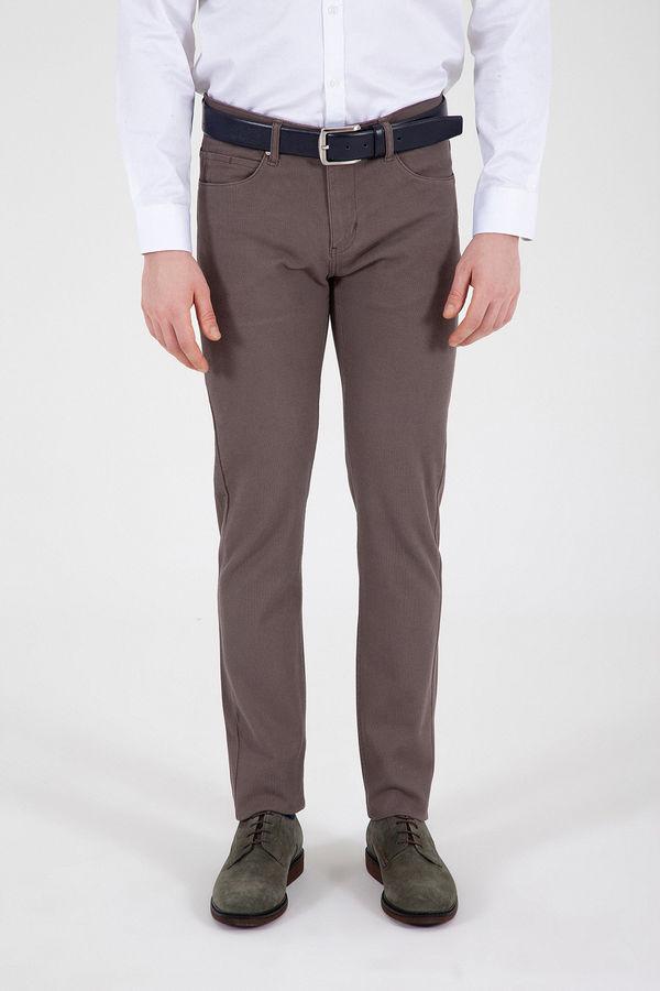 Hatem Saykı - Vizon Desenli Slim Fit Pantolon