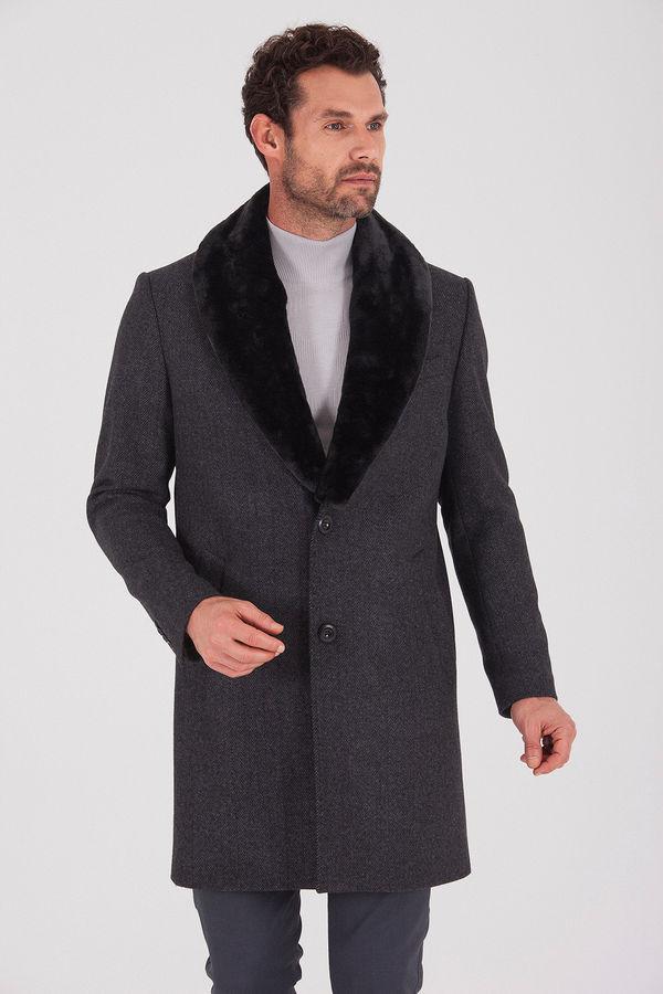 Yakası Kürklü Yünlü Antrasit Palto