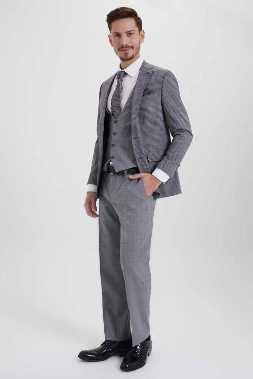Hatem Saykı - Gri Desenli Slim Fit Yelekli Takım Elbise (1)
