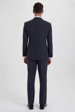 Yelekli Slim Fit Antrasit Takım Elbise - Thumbnail