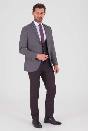 Yelekli Slim Fit Bordo Takım Elbise - Thumbnail