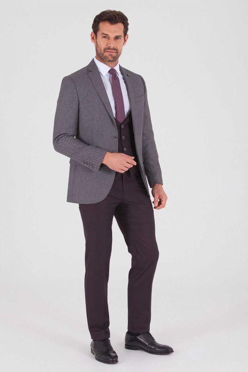 Yelekli Slim Fit Bordo Takım Elbise