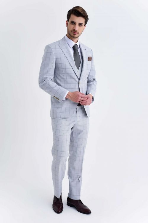 Hatem Saykı - Yelekli Slim Fit Gri Takım Elbise