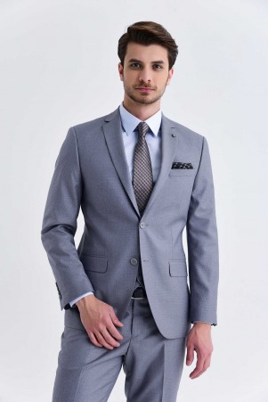 Yelekli Slim Fit Gri Takım Elbise - Thumbnail