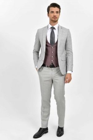 Hatemoğlu - Açık Gri Kareli Slim Fit Yelekli Takım Elbise (1)
