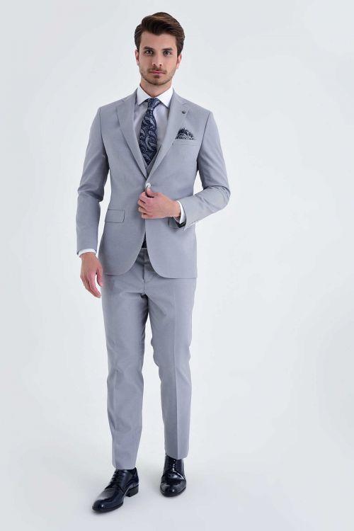Hatem Saykı - Yelekli Slim Fit Gri Takım Elbise (1)