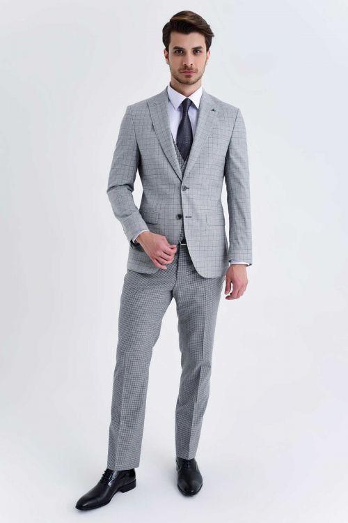 Hatem Saykı - Açık Gri Kareli Slim Fit Yelekli Takım Elbise