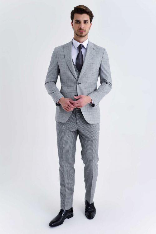 Hatem Saykı - Açık Gri Kareli Slim Fit Yelekli Takım Elbise (1)