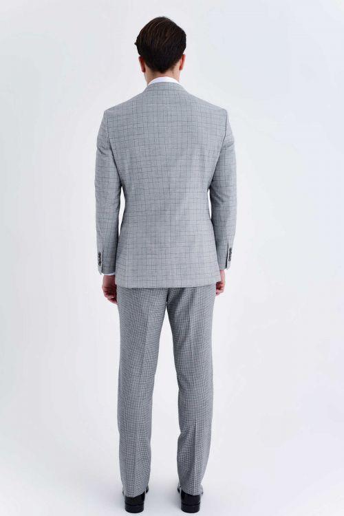 Açık Gri Kareli Slim Fit Yelekli Takım Elbise